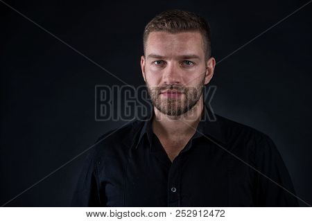 Masculinity And Confidence. Business Man Face Confident With Bristle Beard Close Up. Business Man Fo