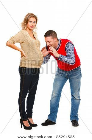Husband Speaking With Pregnant Wifes Belly