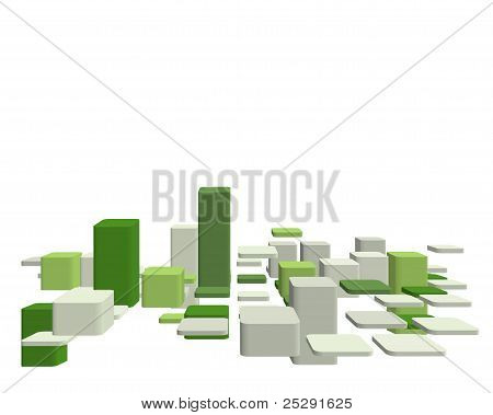 Checked green and grey background with 3d perspective poster