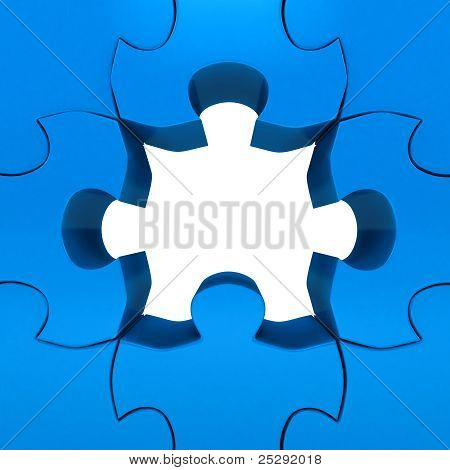 Puzzle over white background. 3d rendered image poster