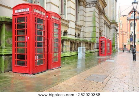 Uk Symbol - Red Telephone Booths In Birmingham, England.