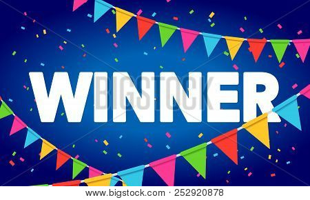 Vector Illustration Winner Congratulations Confetti Triumph Banner. Victory Success Letters With Bac