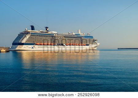 Malaga, Spain - August 05, 2018. Celebrity Reflection Cruise Ship Owned And Operated By Celebrity Cr
