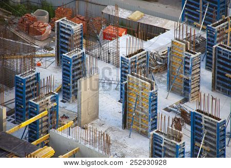 Top Down View Aerial Of Construction Site