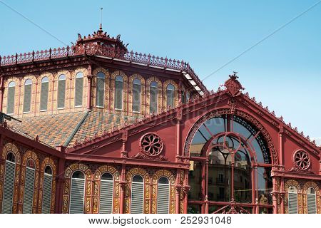 a view of the top of the Mercat de Sant Antoni public market in Barcelona, Spain, built on 1879