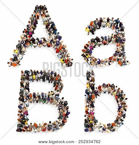 Collection Of A Large Group Of People Forming The Letter A And B In Both Upper And Lower Case Isolat