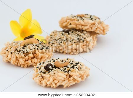 Thai Style Cereal Cracker On White Background