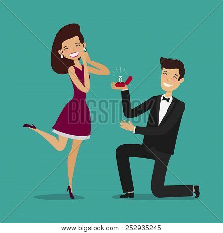 Man Proposes A Woman To Marry. Wedding, Marriage Concept. Cartoon Vector Illustration