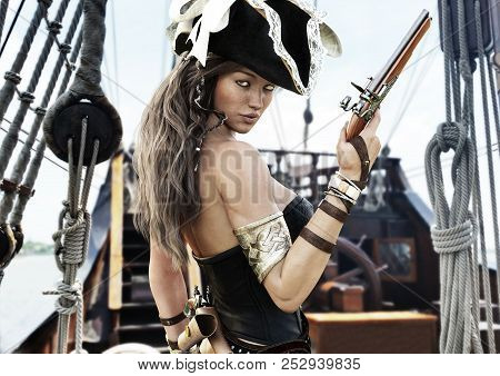 Profile Of A Sexy Pirate Female Captain Standing On The Deck Of Her Ship With Pistol In Hand. 3d Ren