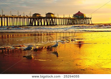 Sunset Over Huntington Beach Pier
