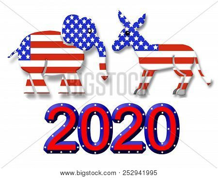 Election 2020 Republican Party Symbol Graphic And 2020 Text Isolated On White Background For Web Gra
