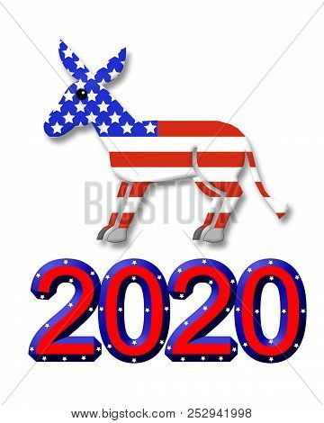 Election 2020 Party Symbols Graphic. Democratic Donkey  And 2020 Text Isolated On White Background F