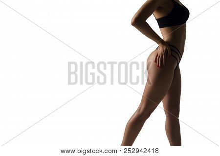 Healthy Lifestyle Diet And Fitness. Beautiful Slim Woman's Body. Perfect Slim Toned Body Of The Girl