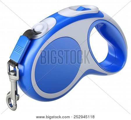 Retractable Dog Leash With Carabiner Isolated On White Background - 3d Illustration