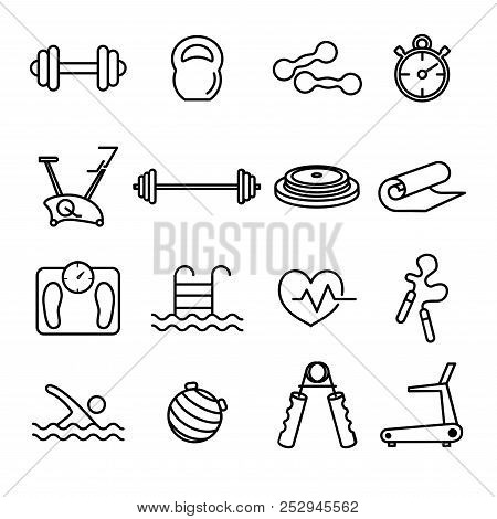 Fitness And Gym Line Thin Black Icons Set. Health Care Vector Illustrations.