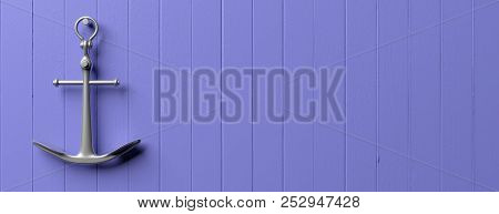 Nautical Concept. Metal Ship Anchor Hanging On  Blue Wooden Wall Background, Banner, Copy Space. 3d