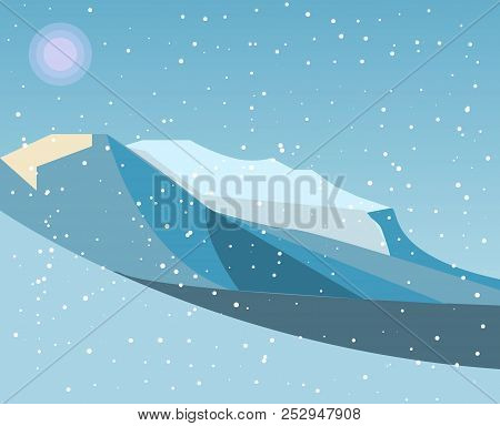 Mountains With Falling Snow, Vector. Mountains With Falling Snow, Vector