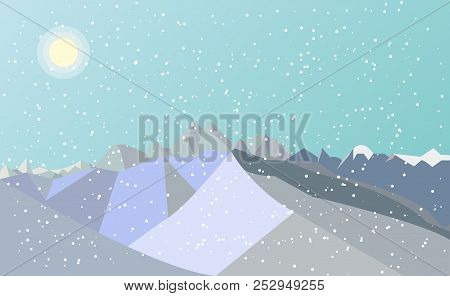Mountains With Falling Snow, Vector, Mountains With Falling Snow, Vector