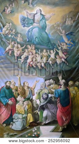 ZAGREB, CROATIA - NOVEMBER 29: Assumption of the Blessed Virgin Mary, altarpiece in Zagreb cathedral dedicated to the Assumption of Mary in Zagreb on November 29, 2014