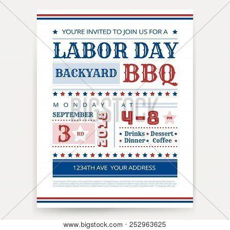 Labor Day Bbq Invitation Template - Labor Day Usa Grill Party Flyer Design - Vector Illustration Ret