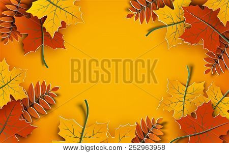 Autumn Background, Tree Paper Leaves, Yellow Backdrop, Design For Fall Season Sale Banner, Poster Or