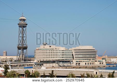BARCELONA, SPAIN - APRIL 19, 2018: Exterior of the World Trade Centre building. Designed by architect Henry Cobb, the building opened in 1999.