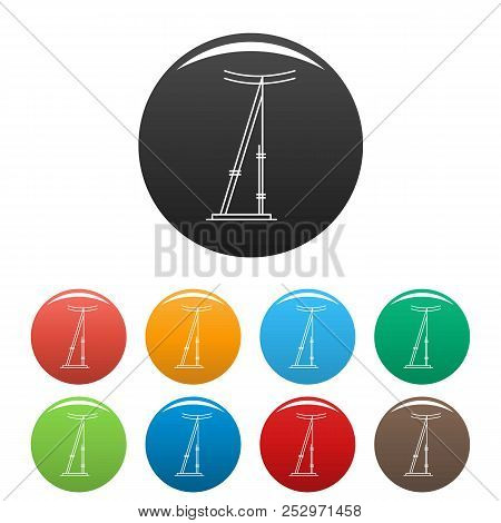 Telegraph Pole Icon. Outline Illustration Of Telegraph Electric Pole Icons Set Color Isolated On Whi