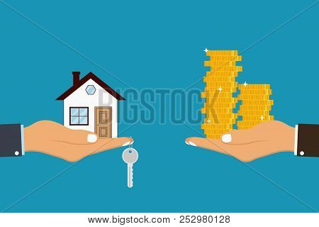Hand Holds House And Key On Finger And Giving, Receiving Golden Coins From Other Hand. Concept For H