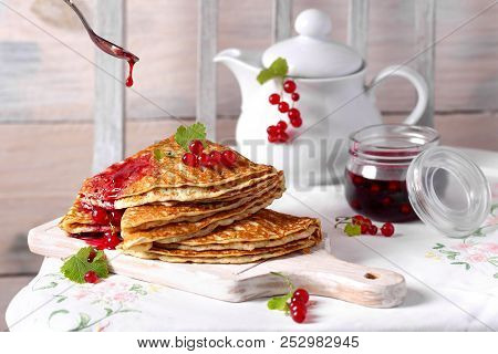 Pancakes With Fresh Red Currant And Jam