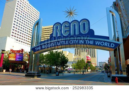 August 1, 2018 In Reno, Nv:  Landmark Sign Which Is A Welcoming Sign To Reno Taken In Downtown Reno,
