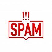 Word spam with prohibition sign on sticker. No spam concept. Vector stock illustration. poster