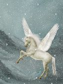 pegasus in a winter landscape with snow poster
