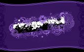 A vector background design in purple color scheme and standard wide-screen aspect ratio in grunge illustration style with a central splatter banner graphic and space for your copy. poster