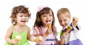 happy children group with ice cream in studio isolated poster