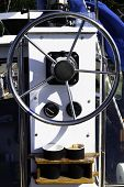 Sailing yacht control wheel and implement, helm, coffee poster