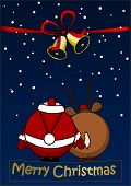 Merry Christmas - Christmas card with Santa Claus and Reindeer poster