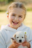 Best friends - happy girl with cute puppy poster