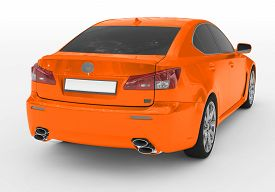 Car Isolated On White - Orange Paint, Tinted Glass - Back-right Side View - 3d Rendering