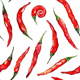 Watercolor Red Hot Chili Chilli Spicy Pepper Seamless Pattern Texture Background