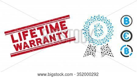 Grunge Red Stamp Seal With Lifetime Warranty Phrase Between Double Parallel Lines, And Mosaic Bitcoi