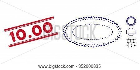 Distressed Red Stamp Seal With 10.00 Caption Between Double Parallel Lines, And Mosaic Double Ellips