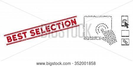 Rubber Red Stamp Seal With Best Selection Text Inside Double Parallel Lines, And Mosaic Double Click