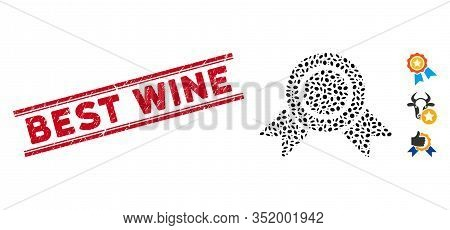 Distressed Red Stamp Seal With Best Wine Phrase Between Double Parallel Lines, And Mosaic Honour Med