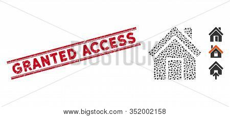 Rubber Red Stamp Watermark With Granted Access Phrase Between Double Parallel Lines, And Collage Clo