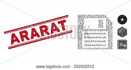 Corroded Red Stamp Watermark With Ararat Caption Inside Double Parallel Lines, And Mosaic Floppy Dis