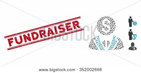 Distressed Red Stamp Seal With Fundraiser Phrase Inside Double Parallel Lines, And Mosaic Banker Ico