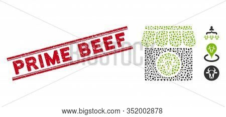 Grunge Red Stamp Watermark With Prime Beef Caption Between Double Parallel Lines, And Mosaic Livesto