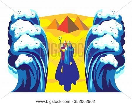 Passover Exodus from Egypt Happy Passover Festival Pesach Jewish Holiday poster. Moses parting the Red Sea, Israelites going on dry ground, waves sky manna matza Egyptian pyramids Sinai desert haggadah vector