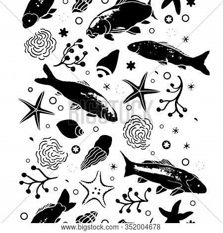 Sealife Linocut Style Black And White Verctical Border With Fish, Starfish, Seaweed And Wave. Summer