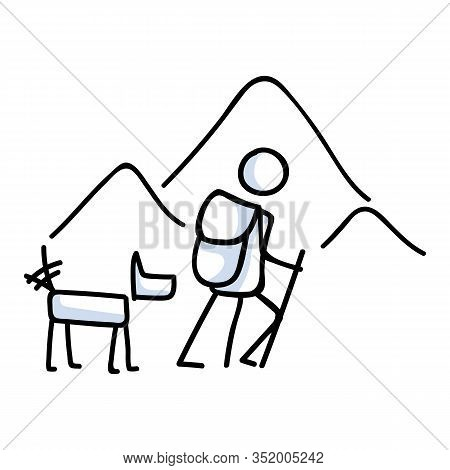 Hiking Stick Figure Mountain With Dog Line Art Icon. Carrying Backpack, Track Pole . Outdoor Leisure